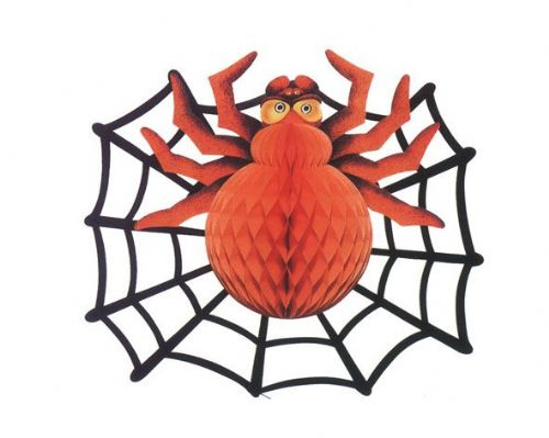 Spider & Spiderweb Decoration 36x46cms Halloween Bug Trick Or Treat